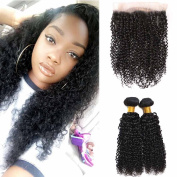 FASHIJIA 360 Lace Frontal Closure With Bundles Kinky Curly Brazilian Hair Weave Bundles With Closure Brazilian Kinky Curly Virgin Hair With Closure Natural Colour