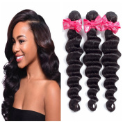 Ms Love Hair Brazilian Loose Wave Virgin Hair 100% Human Hair Extensions 8A Brazilian Virgin Hair Loose Wave natural black colour (true to length,no tangle)