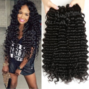 Haever 3 Bundles Brazilian Deep Wave Virgin Hair Grade 8A Unprocessed Human Hair Weave Extension Natural Colour Can Be Dyed and Bleached (100+/-5g)/Pc