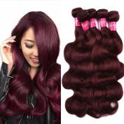 Wome Hair Peruvian Virgin Remy Human Hair Extension 99j Bundles Body Wave Peruvian Hair 3 Bundles Body Wave Weave Mixed length 10-24inch 100g/Bundle