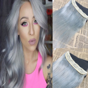 60cm Sliver Grey Colour One Piece Clip in Human Hair Extensions Thick Ends 3/4 Full Head Clip in Extensions Remy Human Hair 5 clips Long Straight Clip on Human Hair Extensions 70g