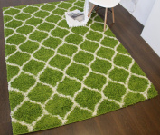 A2Z RUG Cosy Super Trellis Shaggy Rugs Green & Ivory 120x170 cm - 0.9mx1.5m ft Contemporary Living Dinning Room & Bedroom Soft Area Rug