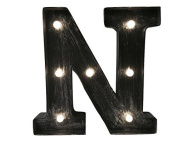 Light-up 10-inch (27cm) LED Marquee Letters with Vintage Antique Industrial Finish - Choose from 20+ Letters / Symbols in Antique Bronze or Silver Finish