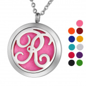 VALYRIA Monogram R Aromatherapy Essential Oil Diffuser Necklace Stainless Steel Letter Locket Pendant with Personalised Engraving