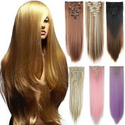 3-5 Days Delivery 23 70cm Long Straight Full Head Clip in on Hair Extensions Hairpiece 8Pcs 18 Clips for Women Lady