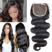 JAHUI Hair Brazilian Body Wave 8.9cm x 10cm Closure Unprocessed Human Hair Lace Closure Bleached Knots with Baby Hair