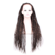 HAIR WAY Synthetic Braided Lace Front Wig 2X Glueless Long Braided Lace Wig with Baby Hair and Natural Hair Line for Black Women Half Hand Tied 450g 70cm #F4/30