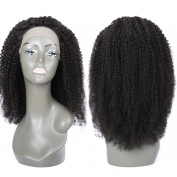 Yaweida Hair Unprocessed Natural Black Colour Brazilian Virgin Human Hair Kinky Curly Full Lace Front Wig