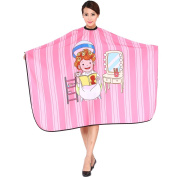 "SMARTHAIR Professional Salon Cape Polyester Haircut Apron Hair Cut Cape,54""x62"",Cartoon Style,Pink,C026012B-P"