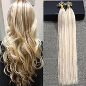 Full Shine 50cm 1g per Strand 50 Strands Per Pack Colour P#18 Ash Blonde and #613 Blonde Hair Extensions Highlighted Ombre Prebonded Hair Extensions Fusion Keratin U Tip Extensions