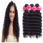 Ms Love Hair Brazilian Deep Wave Virgin Hair, Unprocessed Human Hair Extension, 3 Bundles Natural Colour (100+/-5g)/Pc (Beautiful Natural Curl)