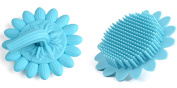 Baby Body Hair Brush Tiptop Scalp Scrubber,Silicone Bath Shower Brushes For Kids and Adults,Sunflower with Handle,Baby Shower Toy,Blue