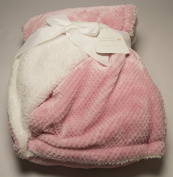 More Hugs More Kisses Baby Girl Pink And White Blanket 80cm x 100cm