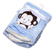 NaXY Baby Blanket for Boys Double Layer Coral Fleece Sherpa Backing with Monkey Cartoon Printing Blue