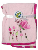 Plush Pink Microfiber Baby Girl Blanket,Embroidery Butterfly Design