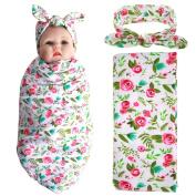 Elesa Miracle Newborn Baby Swaddle Blanket and Headband Value Set,Receiving Blankets, Rose