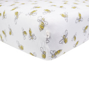 Burt's Bees Baby Scattered Bees Fitted Sheet, Cloud, Crib