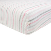 Burt's Bees Baby Batik Stripes Fitted Sheet, Blossom, Crib