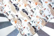 Crib Sheet in Grey Navy Teepee