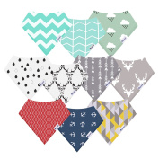 10-Pack Bandana Bibs Upsimples Baby Drool Bibs for Drooling and Teething, Organic Cotton, Super Absorbent, 10 . Design for Baby Boys Girls Toddler, Baby Shower Gift Set