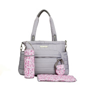 Laura Ashley Solid Grey Quilted 5 1 Nappy Bag