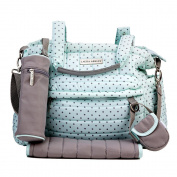 Laura Ashley Mint Polka Dot Quilted 5 1 Nappy Bag Set