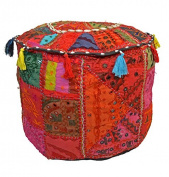 GANESHAM HANDICRAFT - Antique Home Decorative Ottoman Handmade Pouffe,Indian Comfortable Floor Cotton Cushion Ottoman Cover Embellished With PatchWork And Embroidery Work,Indian Vintage Ottoman