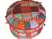 GANESHAM HANDICRAFT - Multicolor Patchwork Pouffe Ottoman Round Cotton Indian Footstool Ottoman Cover with Hand Embroidery Bead cowrie Shells Vintage Bohemian Ottoman