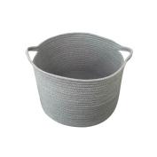 Round Storage everythig Cotton Rope Nursery Basket closet storage basket Hamper with handles ( Grey)