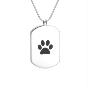 Pet Love Paw Cremation Jewellery Urn Locket Pendant-Stainless Steel Memorial-Ash Keepsake Pendant Necklace Bar
