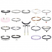 18Pcs Multiple Collar Choker Necklace Length Adjustable Gothic Tattoo Necklace for Girls