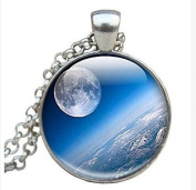 Moon Necklace Space Jewellery Space Glass Pendant, Full Moon And Planet Earth Photo Necklace moon pendant Photo Pendant Moon Jewellery