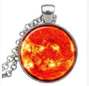 SUN Pendant SUN Necklace Galaxy necklace Space pendant sun orange Jewellery Necklace for him Art Gifts for He