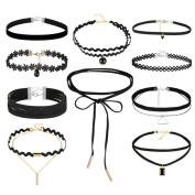 10 Pieces Choker Necklace Set Stretch Velvet Classic Gothic Tattoo Lace Choker Necklaces