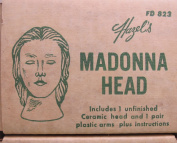 HAZEL PEARSON Craft 1 SET of CERAMIC Unfinished MADONNA Doll HEAD 7.6cm - 0.6cm and PAIR of Vinyl ARMS/HANDS Each 10cm - 0.3cm Long & INSTRUCTIONS for 46cm - 1.3cm DRAPED FIGURE, Doll or Puppet