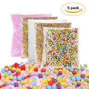 5 Pack Colourful Styrofoam Foam Balls for Slime, 0.08-0.8cm (62,000pcs), Micro Rainbow Beads Decorative Ball Arts DIY Crafts Supplies For Homemade Slime, Kid's Craft, Wedding & Party Decoration