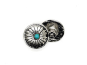 CRAFTMEmore 2PCS 1.9cm Flower Conchos Faux Turquoise Round Shape Silver Plated Metal Castings Screw Back Button