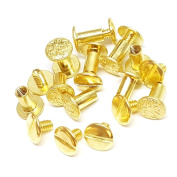 Set of 10, 1cm Engraved Floral Solid Brass Gold Chicago Screws Fastener