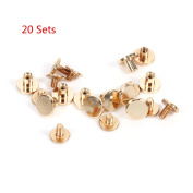 20 Sets 6.5mm x 9mm Dia Solid Brass Slotted Head Button Stud Screw Nail Screwback Leather Craft Rivet for Album Handbags Shoes Pet Belts DIY Screws