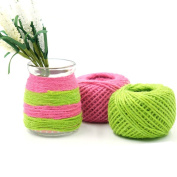 Yalulu 2Pcs 5 Metres Green/Pink Natural Jute Twine Arts Crafts Gift Twine /Hemp Rope Twine Industrial Packing Materials Durable String for Gardening Applications