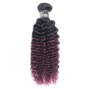 """7A 22"""" T1B/99J Ombre Brazilian Virgin Hair Kinky Curly hair Red Wine Two Tone Ombre Hair Extensions Burgundy Human Hair Weave"""