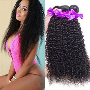 OYM Hair 3 Bundles Brazilian Curly Virgin Hair Weave Unprocessed Human Hair Extensions Natural Tangle Free