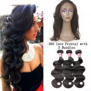 Beauty Princess Peruvian 360 Frontal with Bundles Pre Plucked 7A Unprocessed Vigin Hair Body Wave 3 Bundles and 360 Lace Frontal Closure with Bady Hair Natural Colour.
