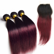Secrect Stylist Brazilian Remy Human Hair Weave With Hair Closure Straight Ombre Human Hair Weave 3 Bundles 300g With Lace Top Closure 10cm x 10cm Two Tone 1B/99J 14with16 18 20