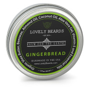Lovely Beards - 100% Organic & Natural, Unrefined COLD PRESSED Beard Balm, Easy-to-Use -Thickens, Restores & Tames - Gingerbread Scent