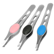 Birch 3X Stainless Steel Slant Precision Tweezers with Thumb and Finger grip. 3 Pack