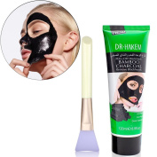 Hisight Black Mask Charcoal Mask Blackhead Remover Mask Deep Cleansing Black Mask Purifying peel off Mask with Mask Brush For Face Nose Acne Treatment Acne Oil Control + Mask Brush
