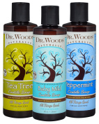 Dr. Woods Pure Liquid Castile Soap with Organic Shea Butter Variety Pack -- Unscented Baby Mild, Peppermint & Tea Tree Soap, 240ml