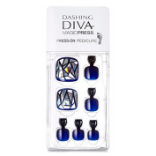 """Dashing Diva Magic Press Artist """"Navy Prism"""" Full Cover Gel Pedi Tips, Pedicure Easy to attach without Glue (Disposable) MDR_006P"""