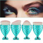 Toraway 4PCS/Set Pro Cosmetic Fish Scale Makeup Brush Fishtail Bottom Powder Blush Makeup Brushes Tool